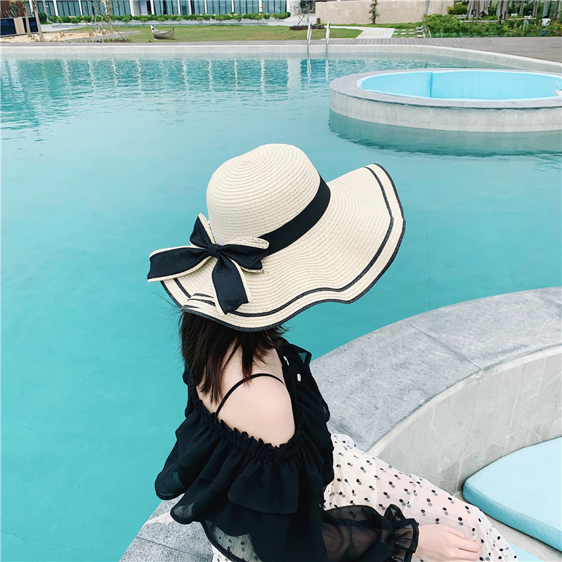 草帽女夏天沙滩帽海边防晒小清新韩版遮脸出游百搭太阳帽遮阳帽子