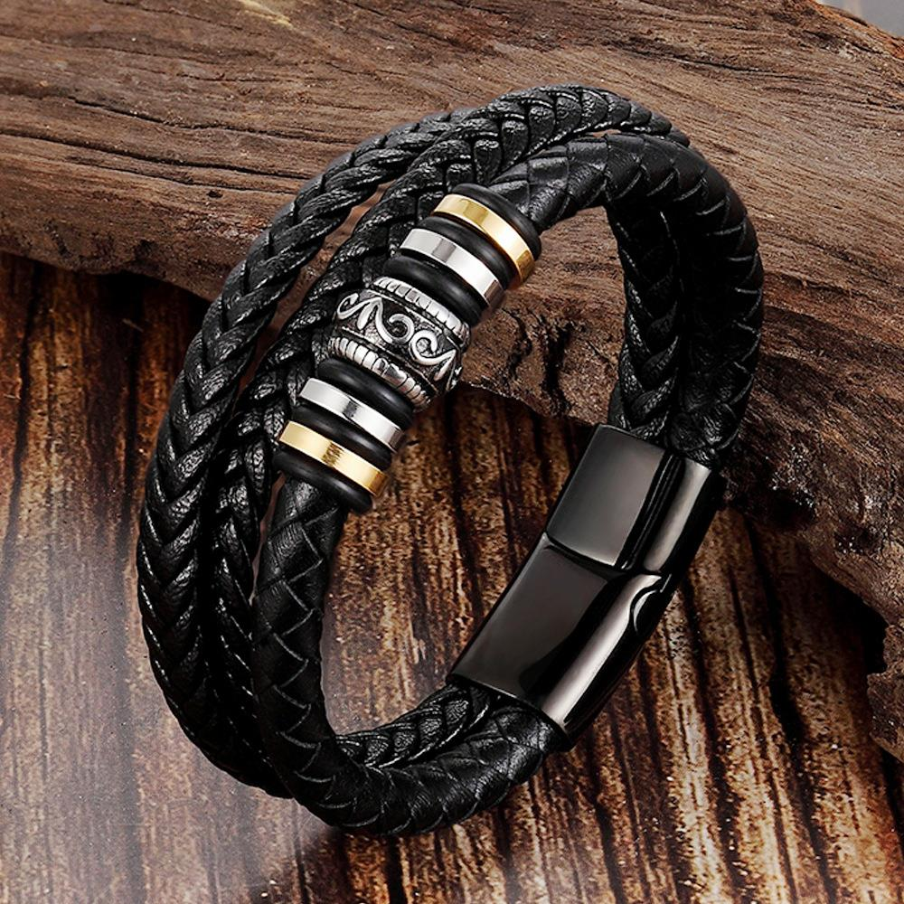 Leather Handmade Bracelet leather woven multi layer mens Leather Bracelet retro stainless steel leather rope l19163