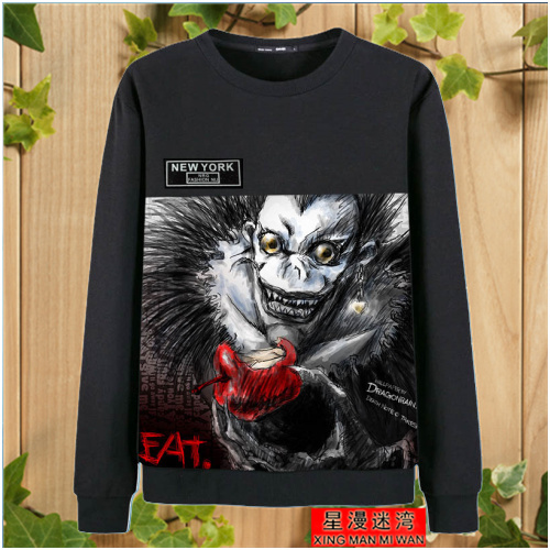 24K death note night God moon animation youth student couple round neck Black Warm Fleece sweater