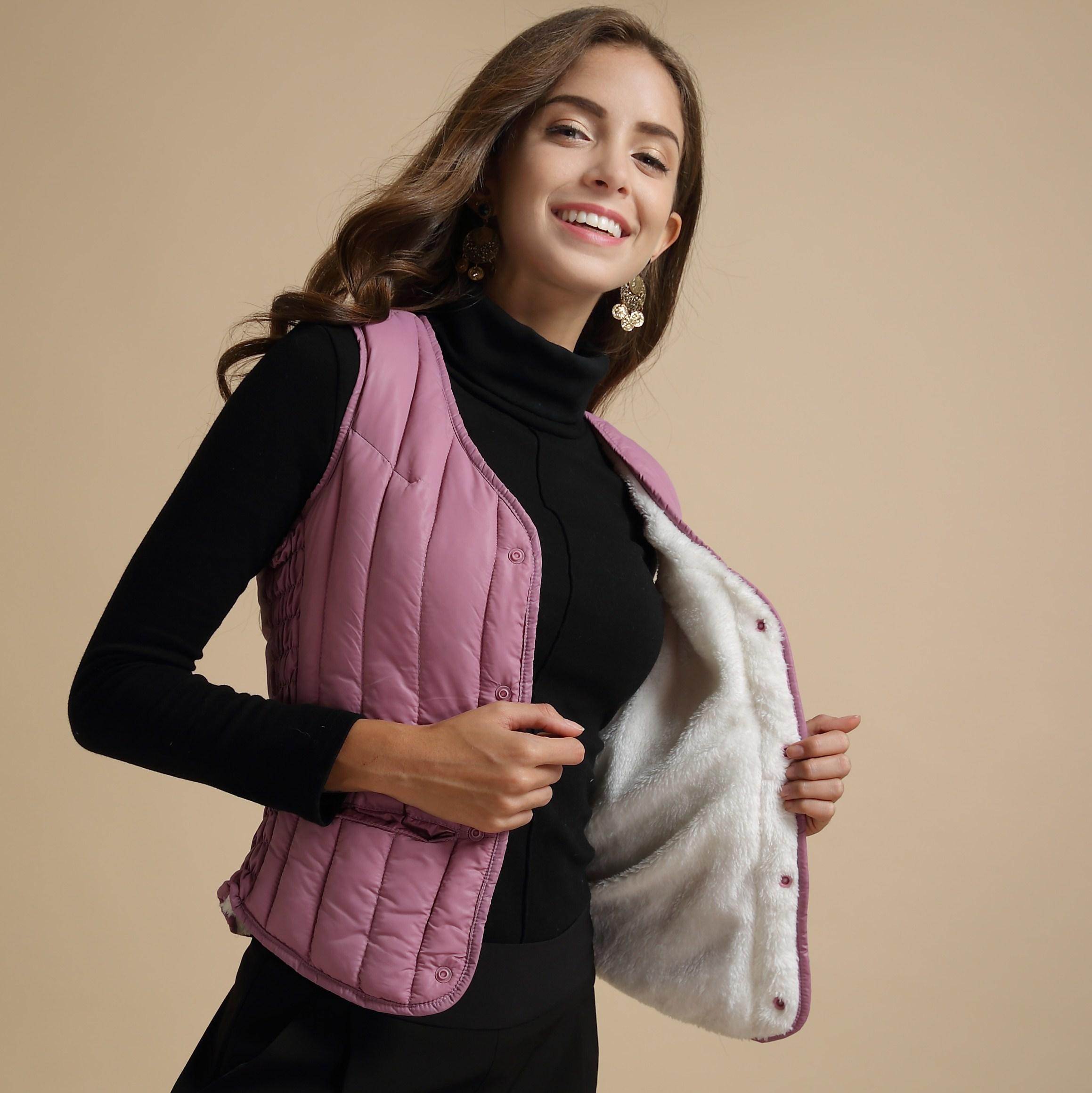 冬季保暖加绒加厚马甲女短款羽绒棉背心女羊羔绒打底内穿修身韩版