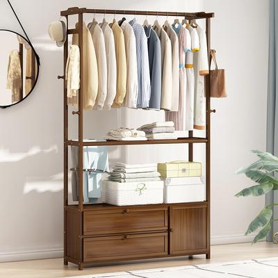 衣帽架落地实木简易多功能卧室家用中式入户门小型窄柜置物挂衣架