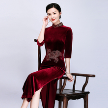 Qiantang beauty autumn 2019 new velvet cheongsam long high-end female temperament retro party mother dress