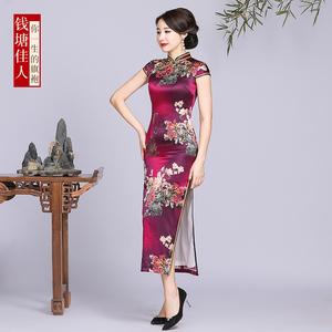 高端桑蚕丝真丝旗袍女复古中国风长款气质优雅大码改良版中式
