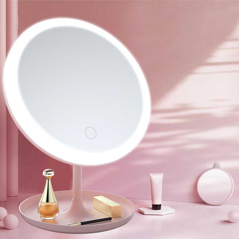 led化妆镜带灯补光宿舍桌面台式梳妆镜女折叠网红随身便携小镜子图片