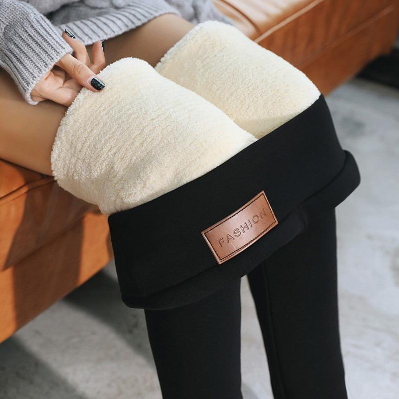 特厚羊羔绒打底裤女秋冬加绒加厚外穿高腰一体裤东北大码保暖棉裤