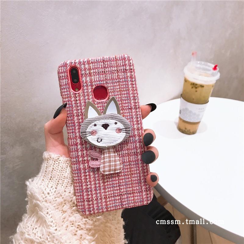 欧美绒布粉格子猫咪vivoz1i手机壳