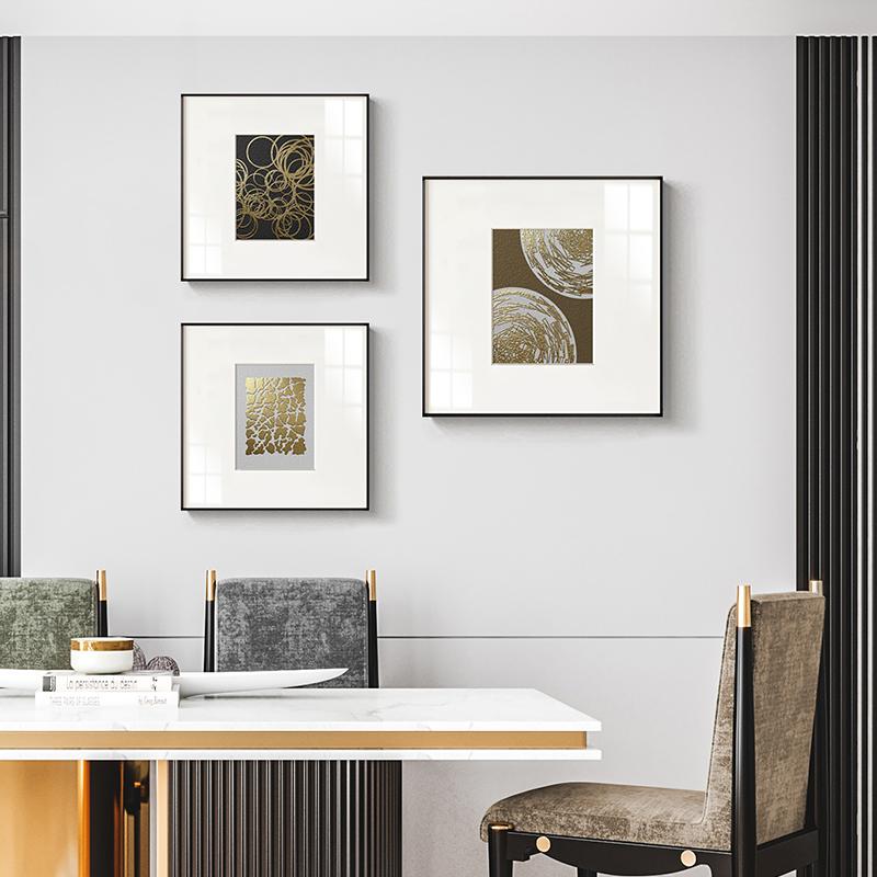 金色回环现代轻奢装饰画高档餐厅挂画抽象线条黑白艺术墙画金属框