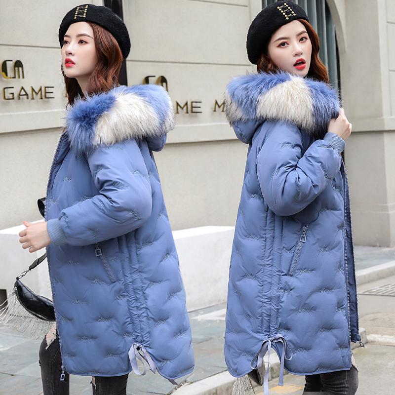 棉衣女中长款2019冬季新款羽绒棉服韩版宽松刺绣面包学生棉袄外套