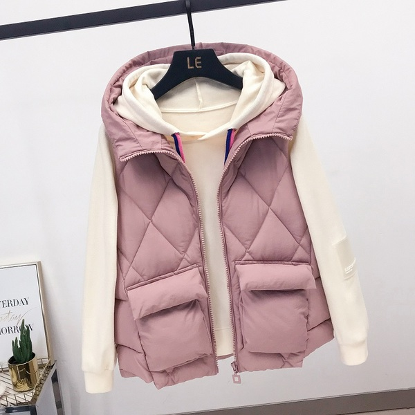 Down jacket 2019 new vest cotton padded jacket female student short loose sleeveless vest vest jacket
