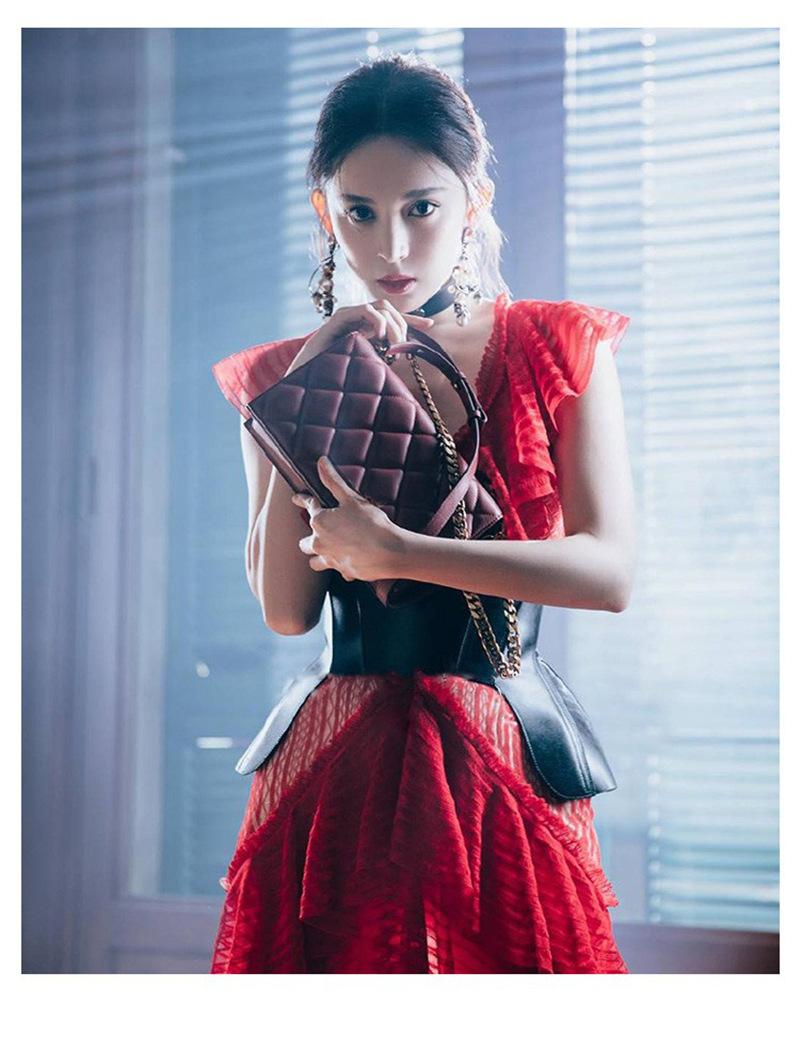 2019春新款钟楚曦古力娜扎同款红色蕾丝荷叶边连衣裙中长礼服裙女