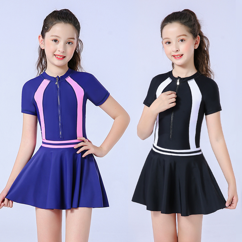 Children's swimsuit women's 2019 new one-piece sun block skirt style middle and large children's bathing hot spring student girls' swimsuit