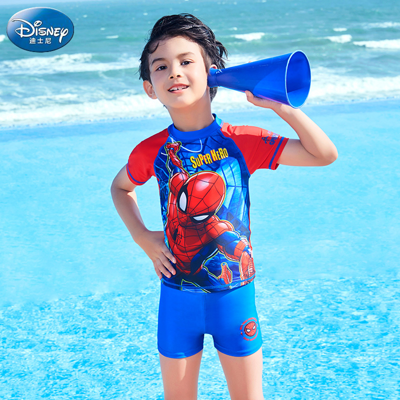 Disney Children's Swimming Suit Boys'Connected Swimming Suit Split Swimming Trousers Spider-Man Spa Children's Swimming Suit