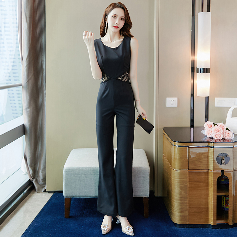 2020 summer new fashion celebrity sexy lace splicing hollowed out Jumpsuit micro horn wide leg pants Jumpsuit woman