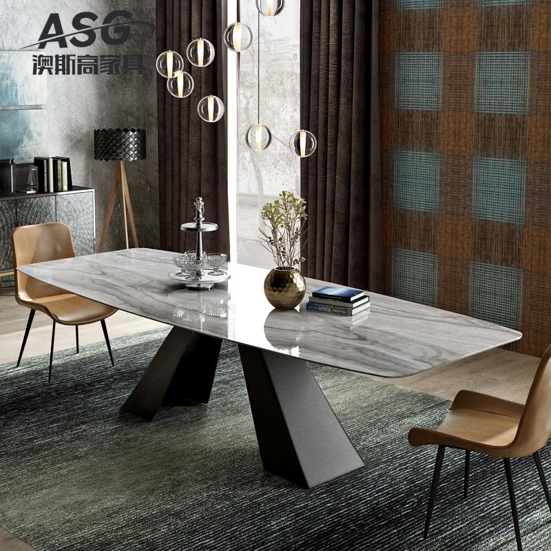 现代简约大理石餐桌北欧风格铁艺loft工业风长方形家用餐桌椅组合