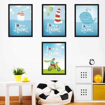 墙贴蓝色爱之旅客厅卧室背景墙地中海北欧墙壁ins装饰画贴纸自粘