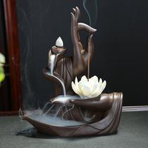 密宗藏式禅意供佛六字真言合金家用法轮双鹿卧香炉吉祥八宝线香盒