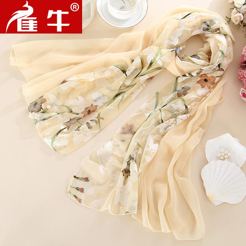 杭州丝绸真丝丝巾中年女百搭春秋妈妈长款洋气时尚纱巾桑蚕丝围巾
