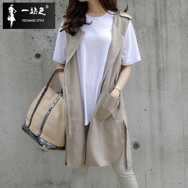 Medium and long waistcoat women spring and autumn thin Korean version versatile cotton and linen cardigan round neck sleeveless vest Jacket Women