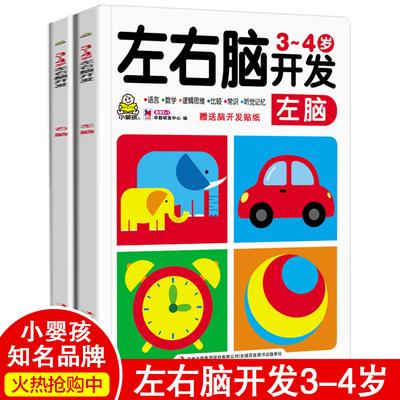 小婴孩左右脑开发3-4岁幼儿园教材中班练习册全套2册 宝宝数学启蒙阶梯思维训练益智早教图书 潜能智力开发读物幼儿童书籍绘本