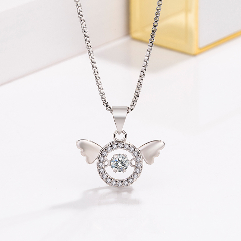 Tanabata Korean version of beating heart angel smart pendant female inlaid with diamond zircon smart Necklace clavicle chain simple jewelry