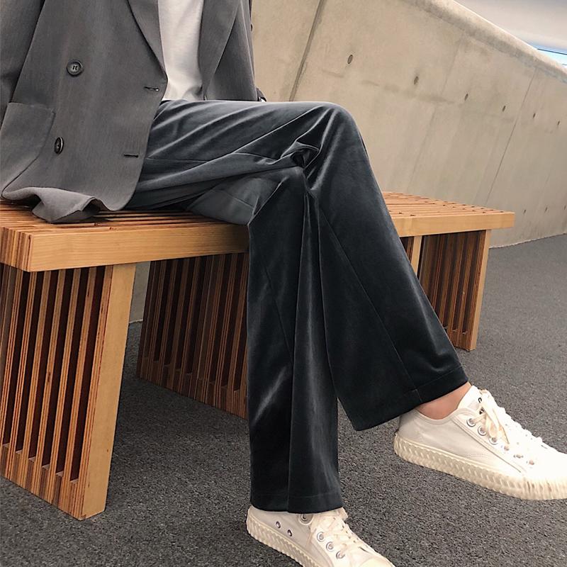 金丝绒阔腿裤女春秋高腰宽松坠垂感直筒黑色加绒裤子休闲拖地加厚图片