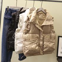 加肥加大码女装20秋冬韩版胖mm抽绳收腰立领羽绒棉马甲上衣200斤