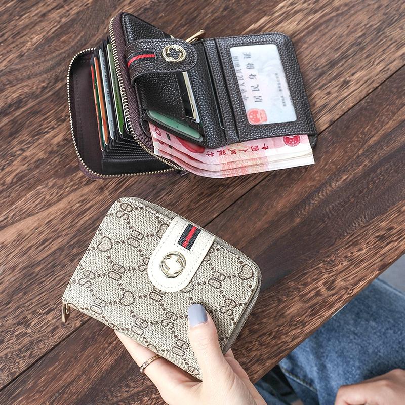 卡包钱包一体包女 欧美2020新款小折叠钱包女短款 大气多功能两折图片