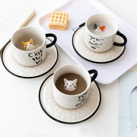 可爱小猫陶瓷杯碟套装搞怪3d动物马克杯ins北欧咖啡杯卡通水杯子图片