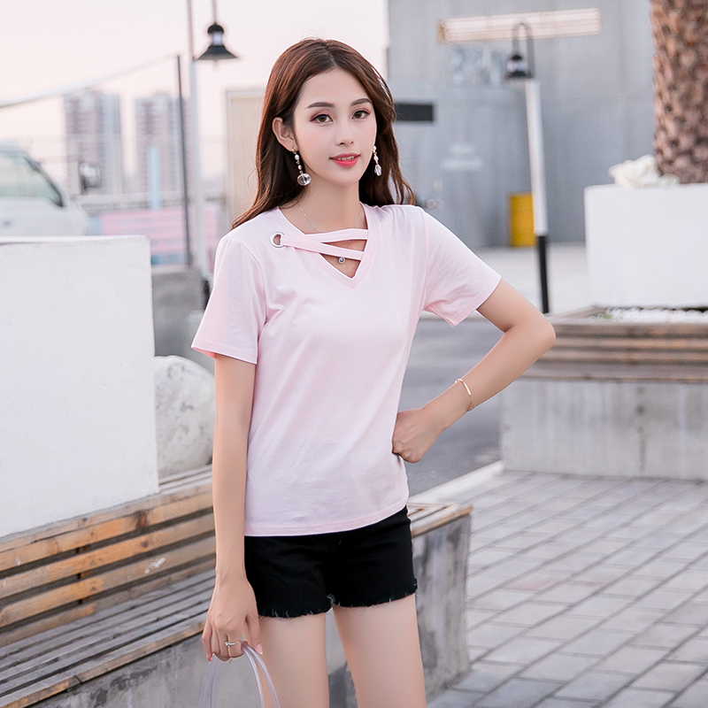 夏装新款韩范v领交叉粉色短袖T恤女装纯色半截小心机上衣+牛仔裤