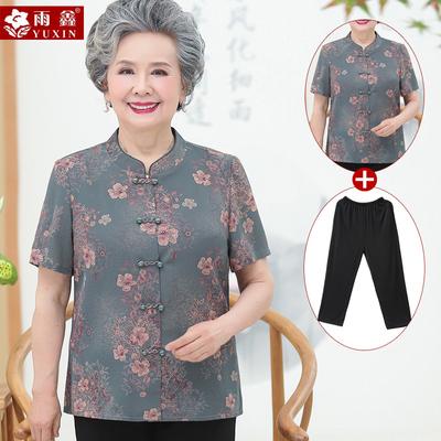 中老年人夏装女奶奶装短袖套装七分袖妈妈中袖衬衫6070岁太太衣服