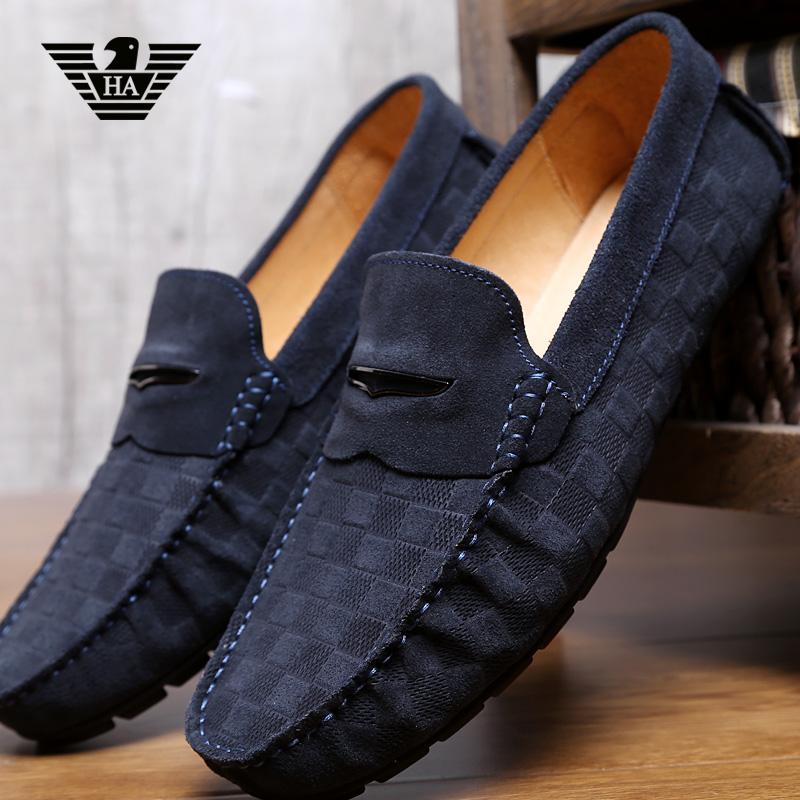 意大利奢侈品大牌利登阿玛尼豆豆鞋反绒皮休闲低帮驾车鞋真皮男鞋图片
