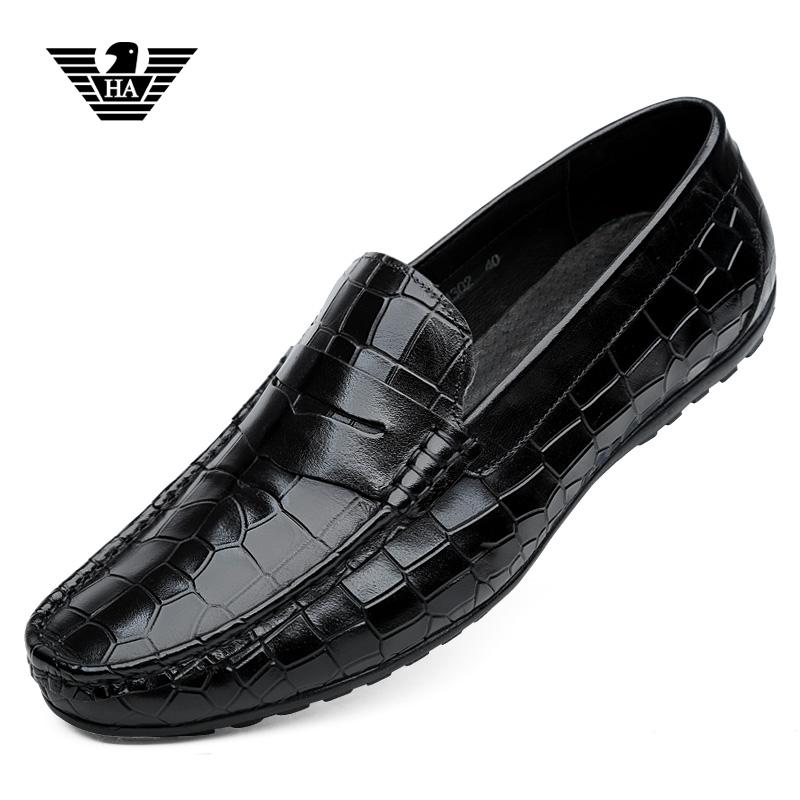 欧洲站利登阿玛尼男鞋春季真皮鳄鱼纹豆豆鞋透气休闲懒人鞋子名牌图片