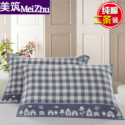 Large and widened cotton gauze large pillow towel pure cotton one pair long pillow towel large high-end European single Nordic