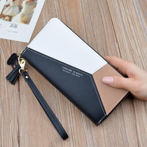 女士手拿钱包女长款三色拼接撞色气质简约拉链手机包学生钱夹皮夹