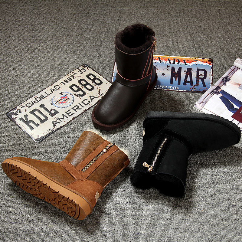 Uzr winter new sheepskin wool integrated snow boots womens middle tube warm womens boots Plush thickened waterproof cotton boots