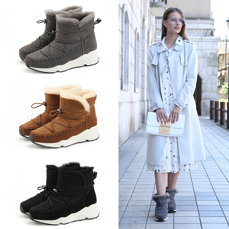 Winter new sheepskin wool integrated snow boots womens short tube womens boots warm, waterproof and anti-skid short boots thickened cotton boots