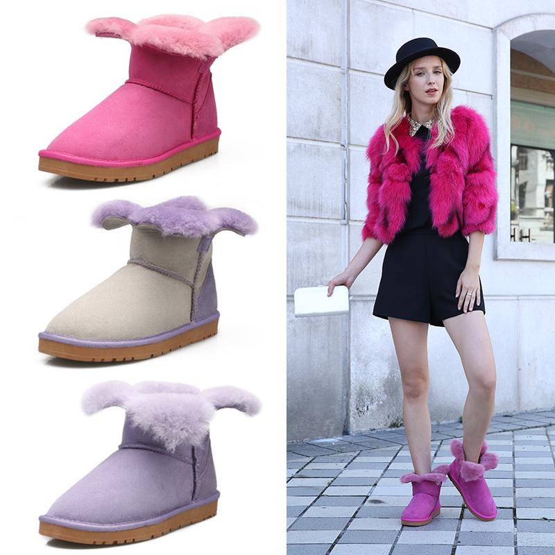 冬季新款雪地靴皮毛一体女短筒靴棉靴低筒靴四叶草保暖平底女靴