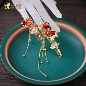 新娘戒指新款中式古装宫廷护指套秀禾服汉服结婚指环写真饰品花戒