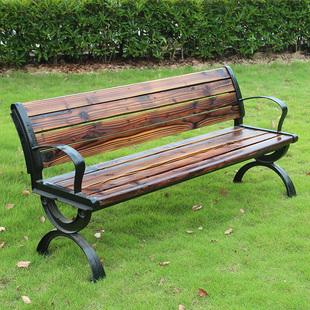 户外公园长椅子实木长凳防腐木休闲靠背露天庭院园林室外座椅铸铝