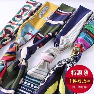 小丝巾女士春秋季百搭长条方巾薄款领巾细窄围巾长款纱巾领带装饰