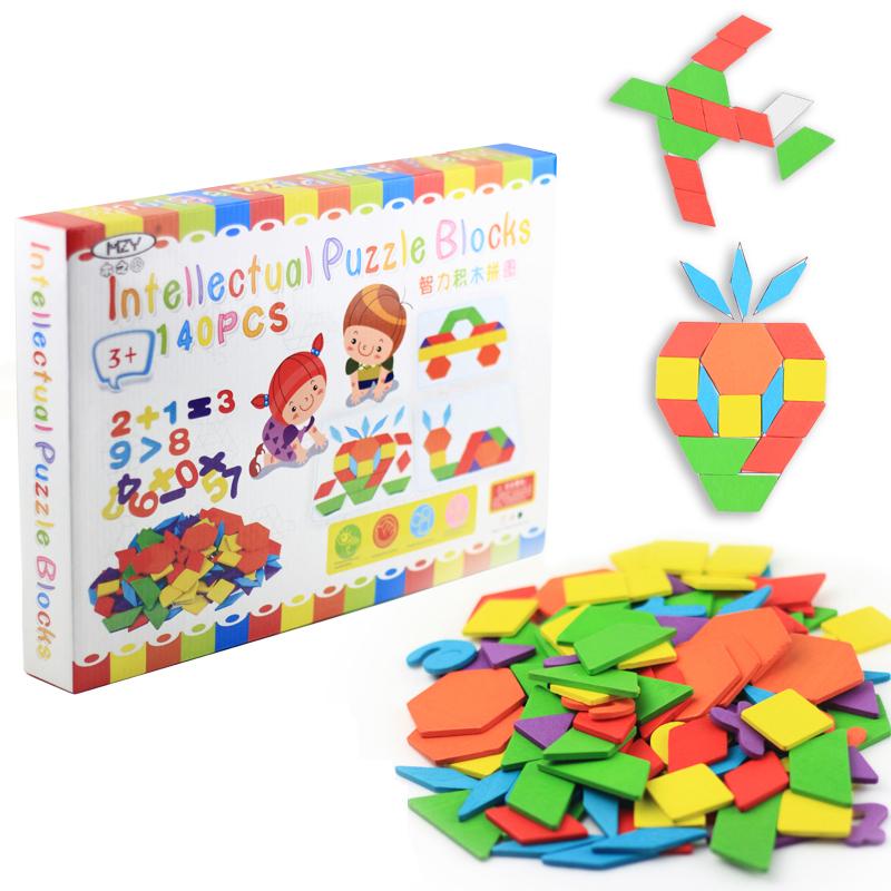 木質小學生七巧板積木兒童啟蒙拚圖寶寶智力形狀認知幾何早教玩具