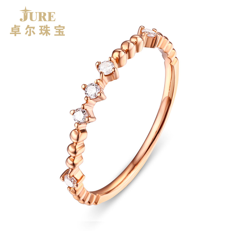 Jure / zhuoer jewelry diamond color gold ring womens 18K Rose Gold Purple Gold womens ring simple tail ring genuine diamond ring
