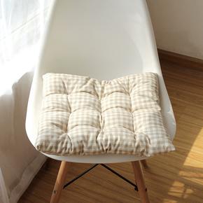 卡其格子日式棉麻加厚坐垫四季办公室学生汽车座椅垫子家用板凳垫