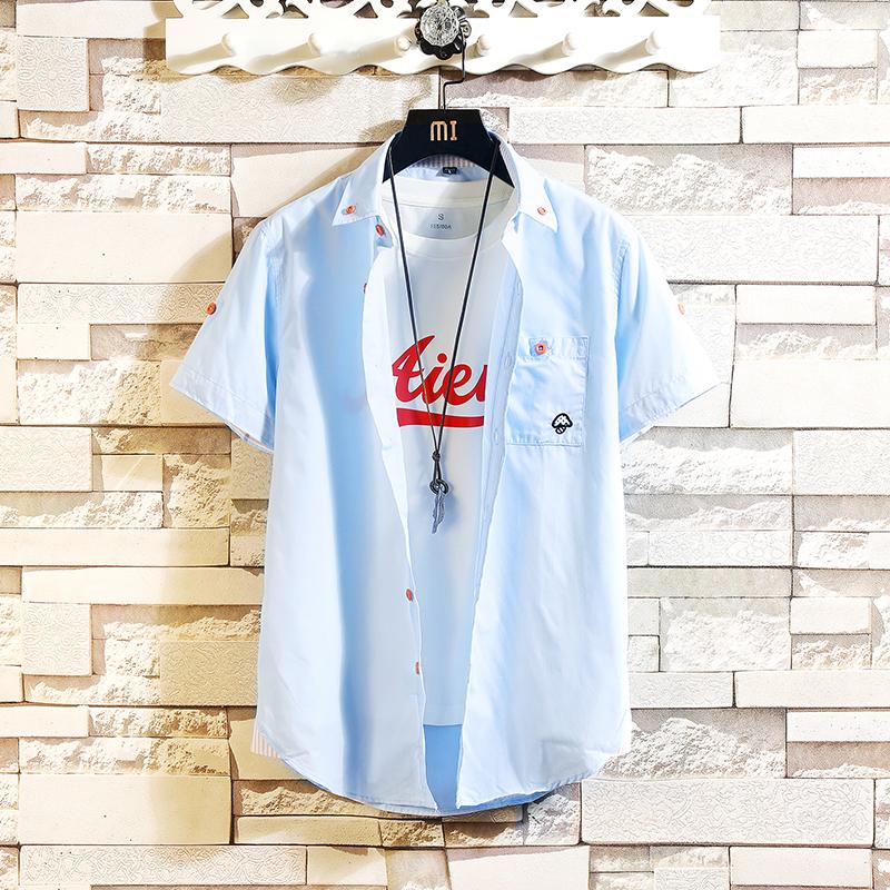 男士男装时尚短袖绣花小蘑菇短袖衬衫衬衣228-CS282-P26