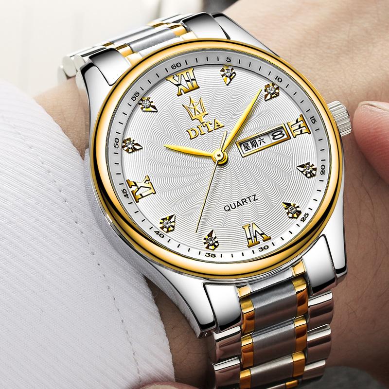 新款迪塔手表男士钢带情侣手表防水男女学生表男全自动石英腕表潮(非品牌)