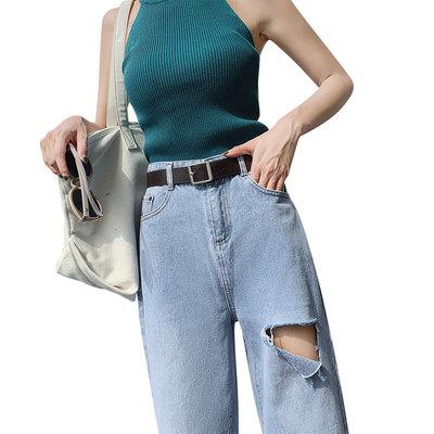 牛仔阔腿裤女宽松高腰直筒2019新款春秋季垂感小个子泫雅老爹薄款