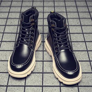 男士马丁靴男鞋子潮鞋高帮鞋英伦风工装靴冬季加绒保暖雪地棉鞋图片