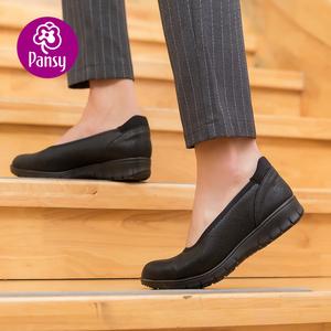 pansy日本2021春款坡跟黑色休闲鞋