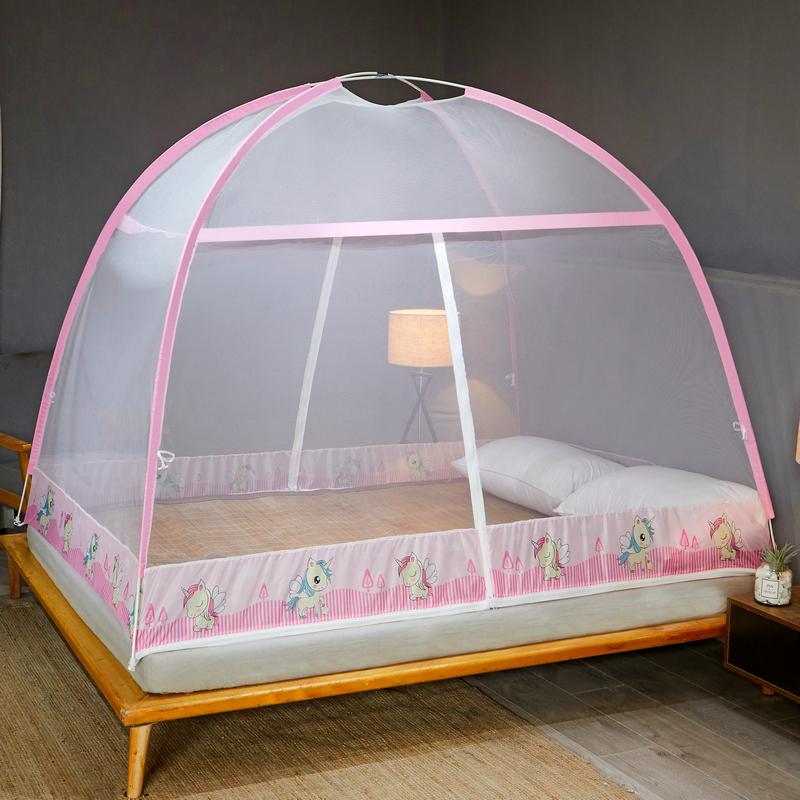 蒙古包1.5m床1.8m家用蚊帐防摔1.2免安装折叠纹账儿童加密加厚