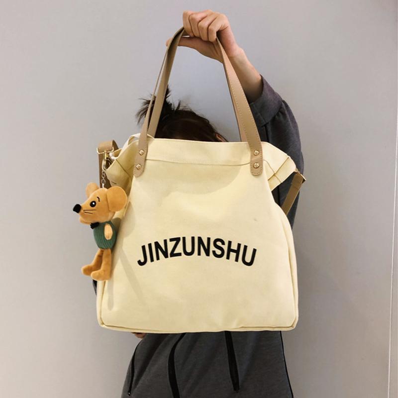 ins帆布水桶包 日系韩版单肩包女高中大学生手提袋古着感斜挎小包图片